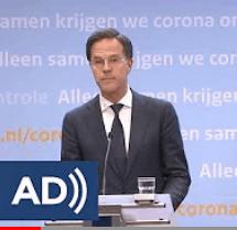 Minister-president Mark Rutte tijdens een persconferentie